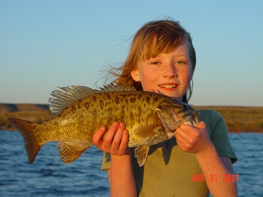 Gorgeous Smallmouth Bass caught by Jr. Guide, Gidget Moon Miller Fishing Elephant Butte Lake New Mexico